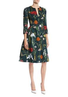 Oscar de la Renta Split-Neck 3/4-Sleeve Fit-and-Flare Floral-Embroidered Knee-Length Day Dress