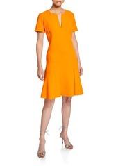 Oscar de la Renta Split-Neck Short-Sleeve Dress