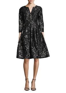 Oscar de la Renta Split Neckline A-Line Dress