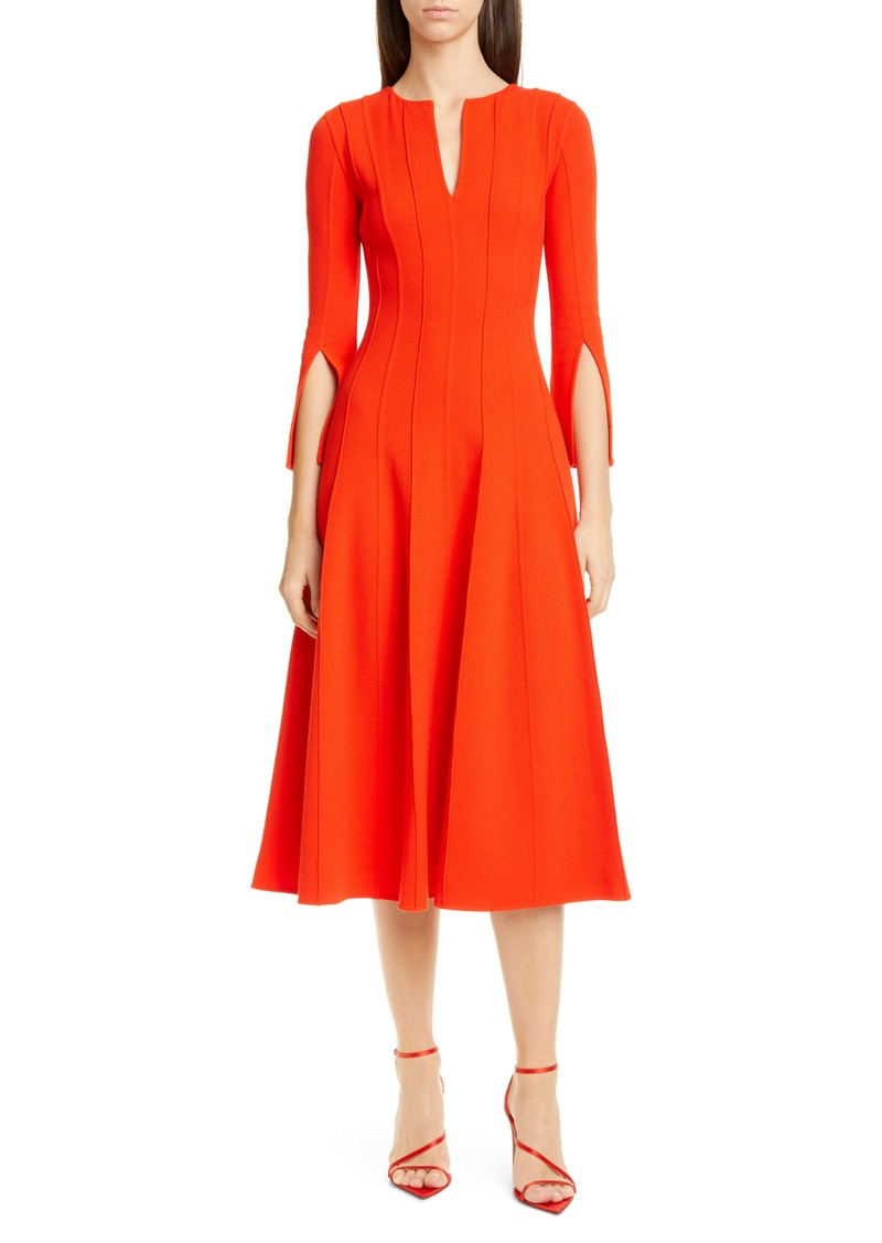 Oscar de la Renta Split Sleeve Pleated Stretch Wool Midi Dress