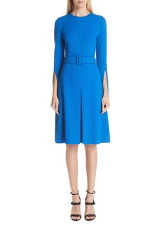 Oscar de la Renta Split Sleeve Stretch Wool Crepe Dress