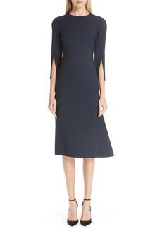 Oscar de la Renta Split Sleeve Stretch Wool Dress