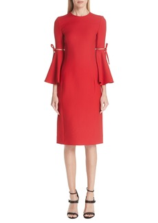 Oscar de la Renta Split Trumpet Sleeve Wool & Silk Crepe Dress