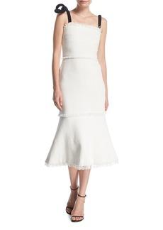 Oscar de la Renta Square-Neck Fitted Tweed Cocktail Dress w/ Velvet Bow-Straps