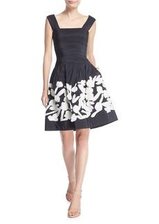 Oscar de la Renta Square-Neck Pleated Silk Faille Cocktail Dress w/ Embroidery