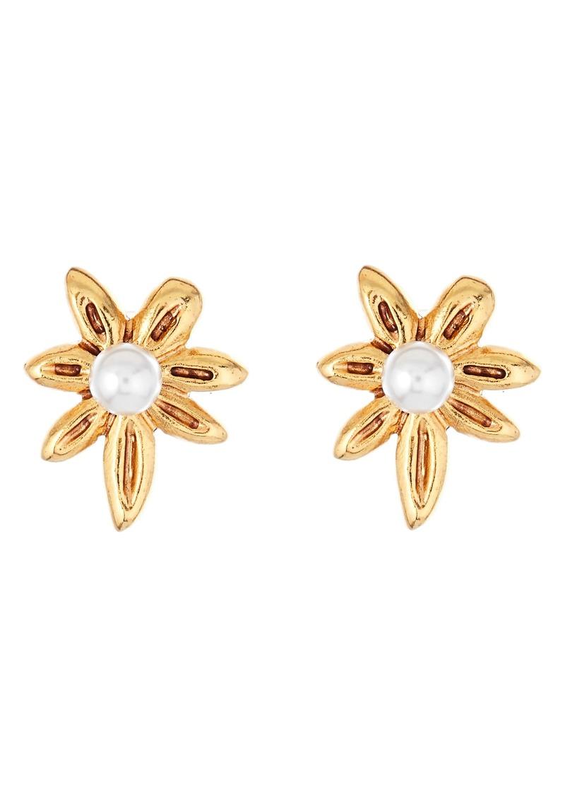 Oscar de la Renta Stars Swarovski Pearl Stud Earrings