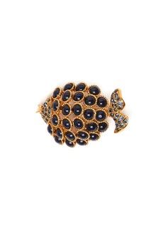 Oscar De La Renta Stone-embellished fish brooch