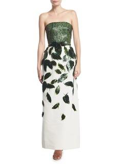 Oscar de la Renta Strapless Beaded Bodice Straight Evening Gown
