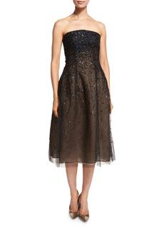 Oscar de la Renta Strapless Degrade-Sequin Midi Dress