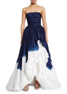 Oscar de la Renta Strapless Dip-Dyed Gown