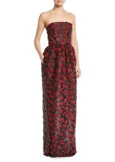 Oscar de la Renta Strapless Embellished Fil Coupe 2-Pocket Evening Gown