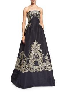 Oscar de la Renta Strapless Embroidered Ball Gown