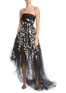 Oscar de la Renta Strapless Floral-Embroidered High-Low Tulle Evening Gown