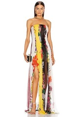 Oscar de la Renta Strapless Floral Striped Gown