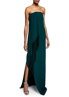 Oscar de la Renta Strapless Fold-Over Fringed Dress w/ Slit
