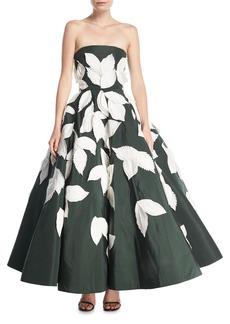 Oscar de la Renta Strapless Full-Skirt Evening Gown with Floral Appliques