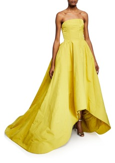 Oscar de la Renta Strapless High-Low Faille Gown