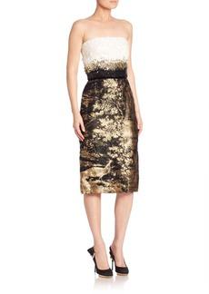 Oscar de la Renta Strapless Jacquard Cocktail Dress