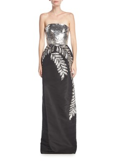 Strapless Sequined Leaf Column Gown