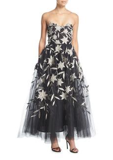Oscar de la Renta Strapless Star-Flower Embroidery Tulle Tea-Length Evening Gown