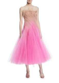 Oscar de la Renta Strapless Tulle Cocktail Dress