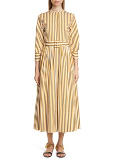 Oscar de la Renta Stripe Pleated Cotton Midi Shirtdress