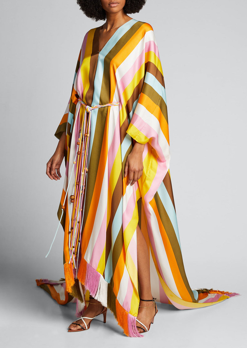 Oscar de la Renta Striped Silk Belted Caftan