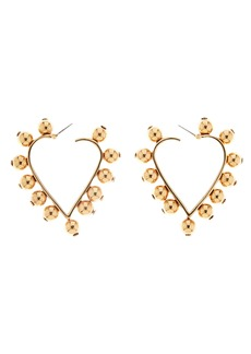 Oscar de la Renta Studded Heart Earrings