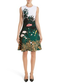 Oscar de la Renta Sunset Intarsia Knit Dress