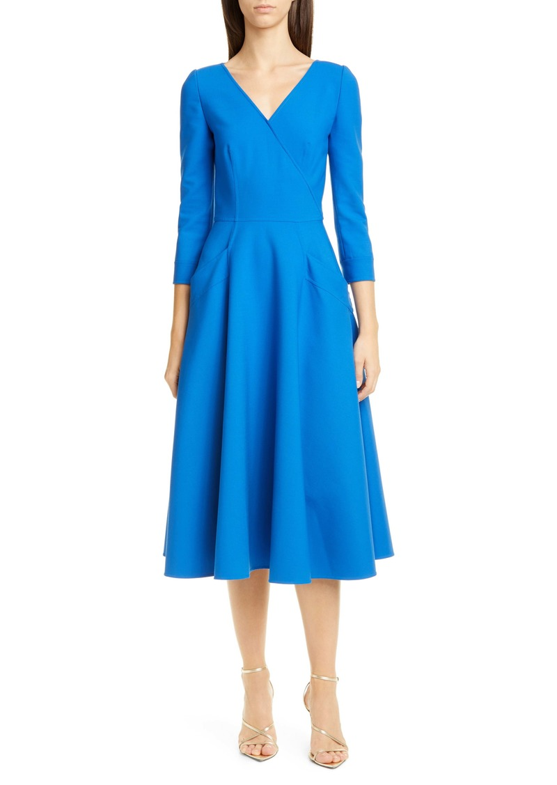 Oscar de la Renta Surplice Stretch Wool Midi Dress