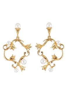 Oscar de la Renta Swarovski Pearl Tulip Hoop Earrings