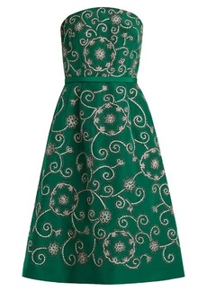 Oscar De La Renta Swirl-embroidered strapless silk dress