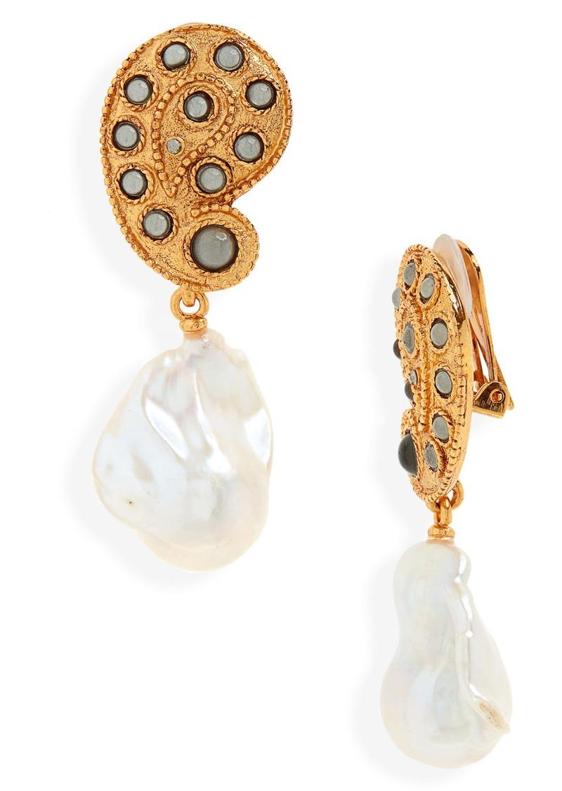 Oscar de la Renta Taj Pearl Drop Earrings
