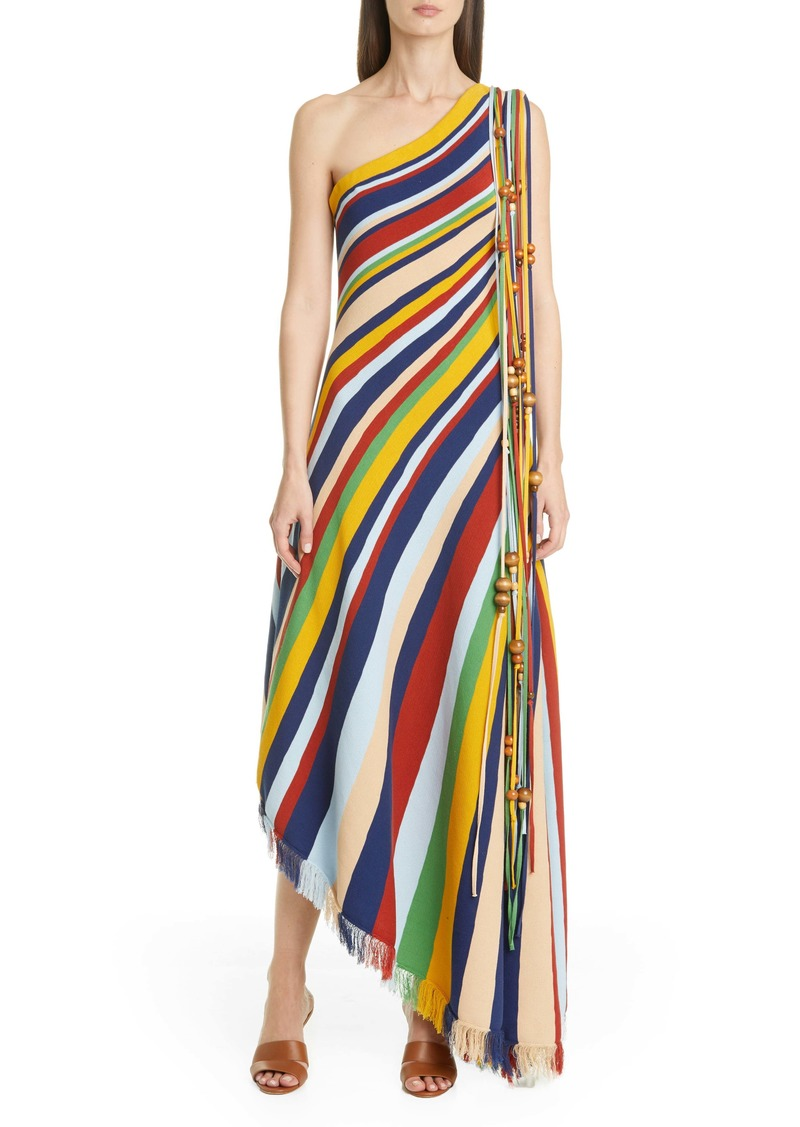 Oscar de la Renta Tassel One Shoulder Asymmetrical Maxi Dress