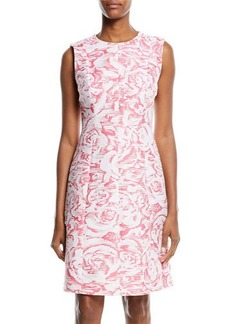 Oscar de la Renta Textured Jewel-Neck A-Line Dress