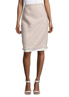 Oscar de la Renta Textured Pencil Skirt