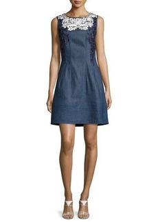 Oscar de la Renta Threadwork-Embroidered Denim Dress