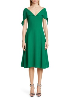 Oscar de la Renta Tie Cuff Stretch Crepe Dress