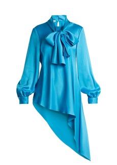 Oscar De La Renta Tie-neck asymmetric-hem satin blouse