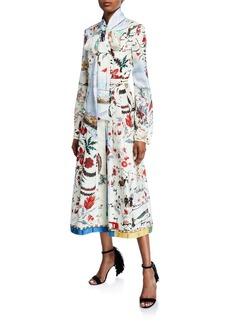 Oscar de la Renta Tie-Neck Multi-Patterned Long Sleeve Dress