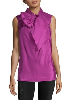 Oscar de la Renta Tie Neck Sleeveless Silk Blouse