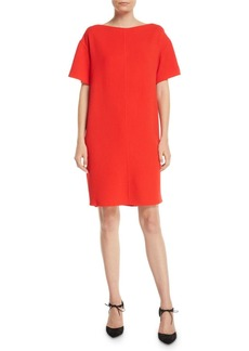 Oscar de la Renta Tieback Short-Sleeve Knee-Length Stretch-Wool Shift Dress