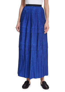 Oscar de la Renta Tiered Pleated Silk Maxi Skirt