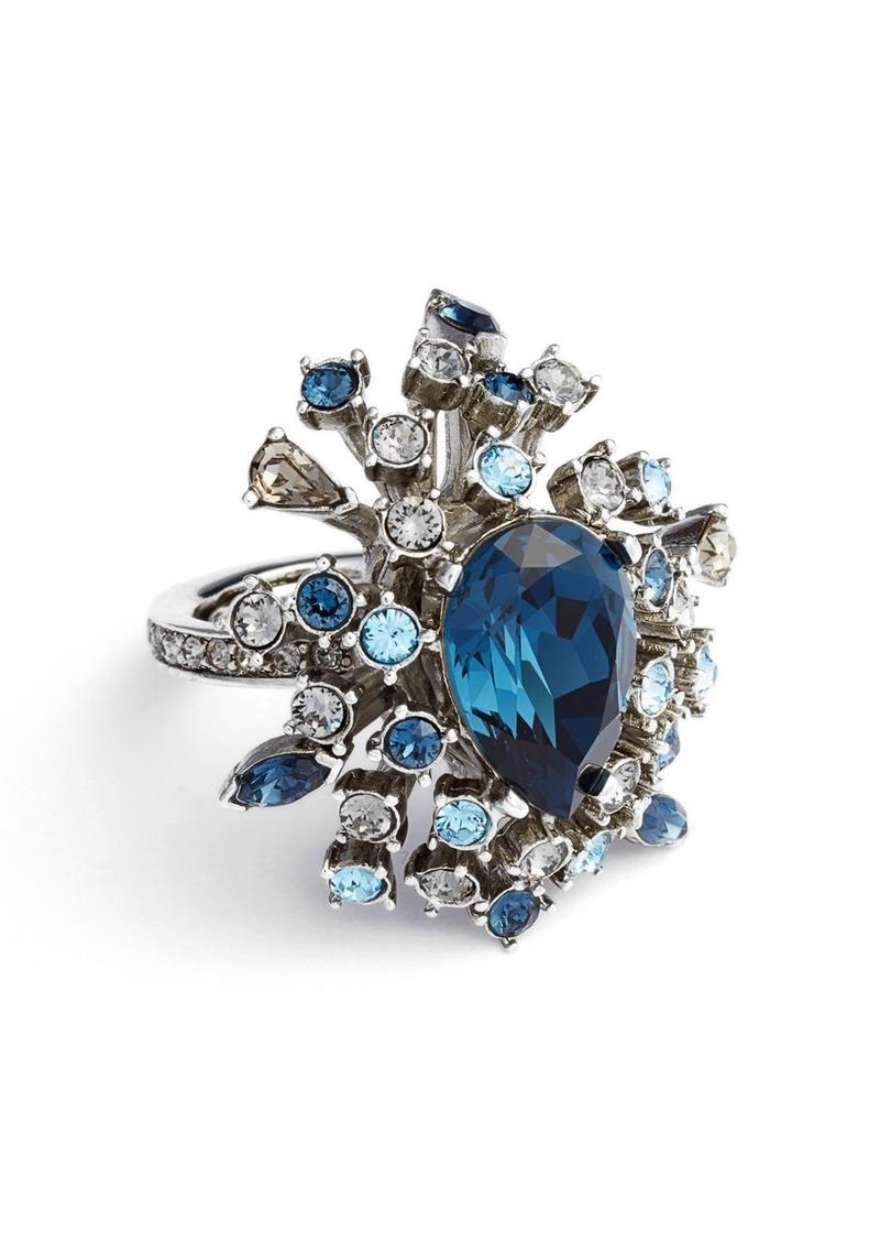 Oscar de la Renta Tiered Swarovski Crystal Ring