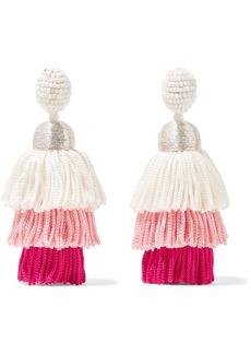 Oscar de la Renta Tiered tasseled beaded clip earrings