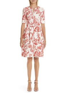 Oscar de la Renta Toile Print Belted Zip Front Dress
