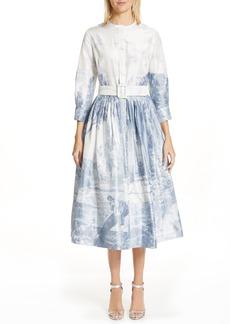 Oscar de la Renta Toile Print Silk Shirtdress