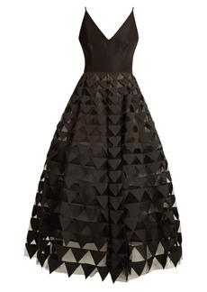 Oscar De La Renta Triangle appliqué V-neck silk-faille gown