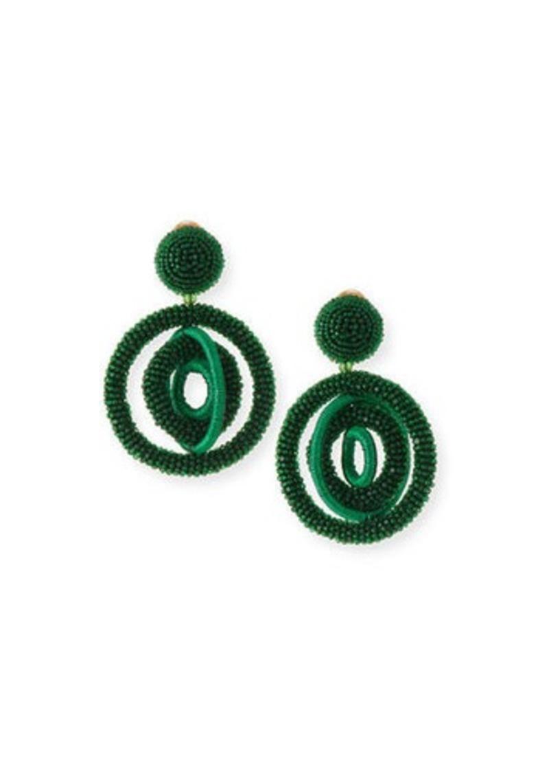 Oscar de la Renta Triple Beaded Clip-On Hoop Earrings