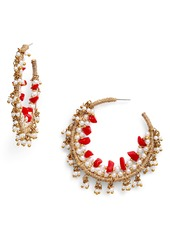 Oscar de la Renta Triple Beaded Hoop Earrings